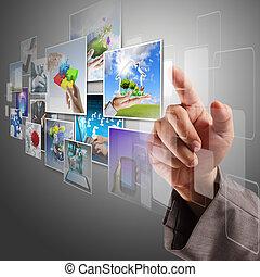 immagini, flusso continuo, mano, virtuale, raggiungimento
