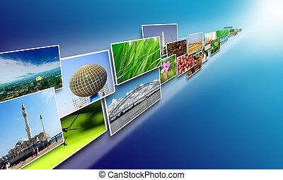 immagini, flusso, su, internet, concetto