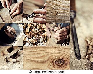 immagini, legno, carpentiere, collezione