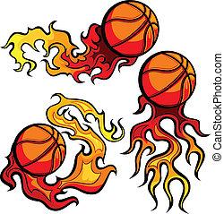 immagini, pallacanestro, fiammeggiante, palla