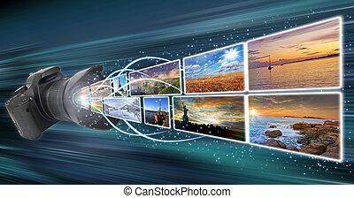 immagini, presa, macchina fotografica