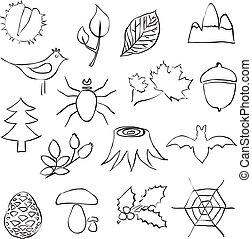 immagini, scarabocchiare, foresta