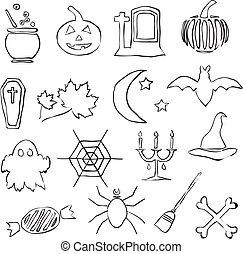 immagini, scarabocchiare, halloween