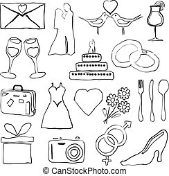 immagini, scarabocchiare, matrimonio