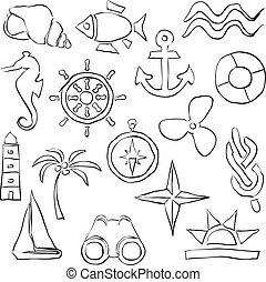 immagini, schizzo, marino
