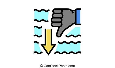 immersion diver gesture animated color icon. immersion diver gesture sign. isolated on white background