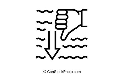 immersion diver gesture animated black icon. immersion diver gesture sign. isolated on white background