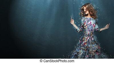 immersion., frau, in, tief, blaues, sea., fantasie