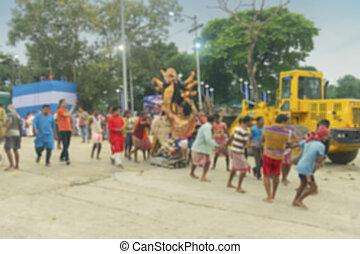 Immersion of Durga idol, Kolkata, India