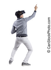 Immersive Virtual Reality Gestures - Male immersed in...