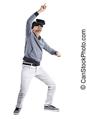 Immersive Virtual Reality Gestures - Male immersed in ...