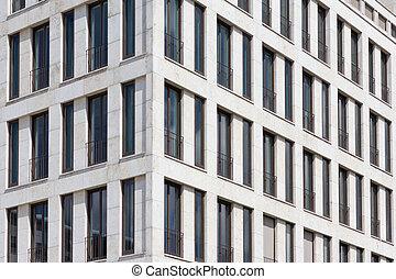 immeuble, extérieur, -, maison, façade