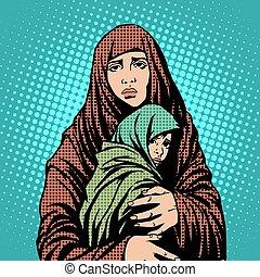 immigrants, bambino, refugees, madre, stranieri