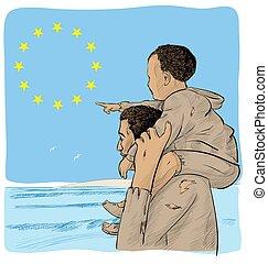 immigrants, père, fils, drapeau, devant, européen