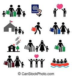 immigrants, réfugié, familles