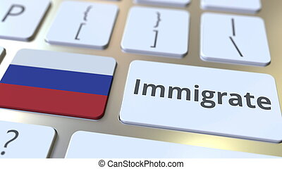IMMIGRATE text and flag of Russia on the buttons on the ...