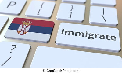IMMIGRATE text and flag of Serbia on the buttons on the...
