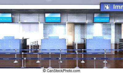 immigration, aéroport, compteur