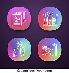 Immigration app icons set. Consulate building. Travel documents, security check. Trip equipment. Refugee, immigrant. UI UX user interface. Web or mobile applications. Vector isolated illustrations