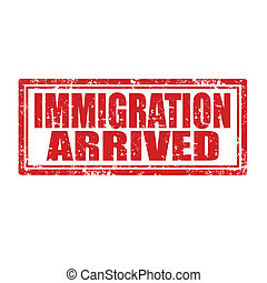 Immigration Arrived-stamp - Grunge rubber stamp with text...