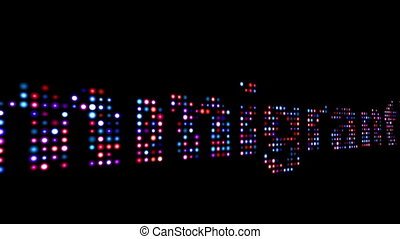 Immigration colorful led text over black