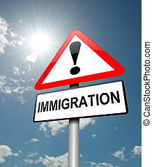 Illustration depicting a red and white triangular warning sign with a immigration' concept. Blue sky background.