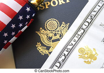Immigration concept, US passport and flag over a citizenship and naturalization certificate