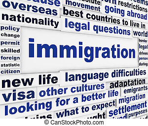 Immigration creative words conceptual message background. Looking for a better life international migration concept