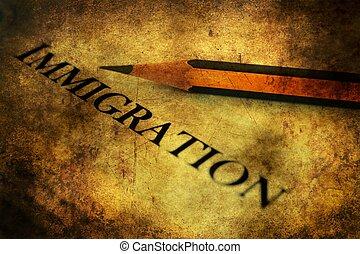 Immigration form grunge concept