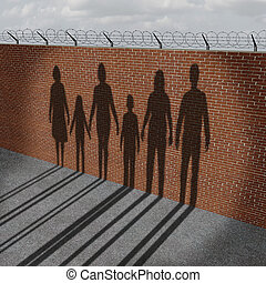 immigration, gens, frontière