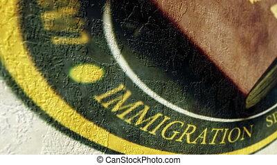 Immigration grunge concept