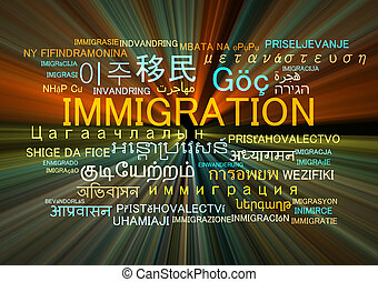 immigration multilanguage wordcloud background concept glowing