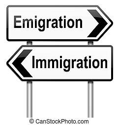 Immigration or emigration. - Illustration depicting a...