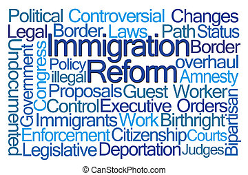 Immigration Reform Word Cloud on White Background