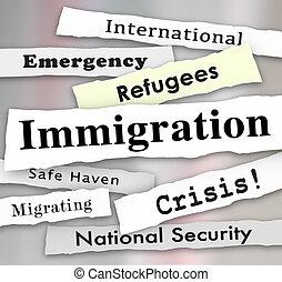 Immigration Refugee Crisis Newspaper Headlines