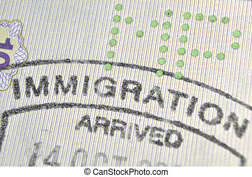 immigration control passport stamp fragment; focus on Immigration word