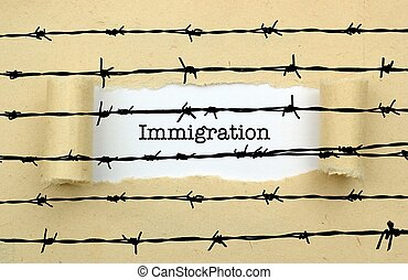 Immigration text against barbwire
