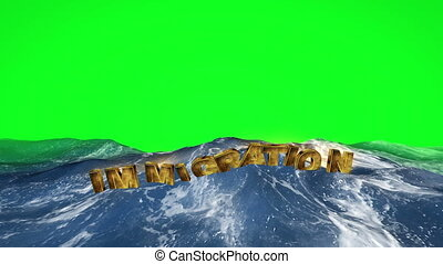 Immigration text floating in the water on green screen
