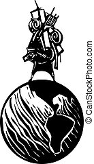 Immigration to the new world - Woodcut style image of man...