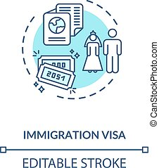 Immigration visa concept icon. Foreign country legal ...