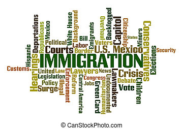 Immigration word cloud on white background
