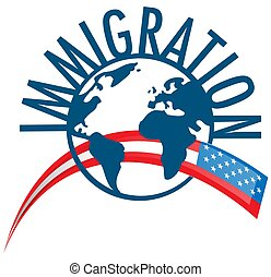 Immigration word concept around the world with USA flag