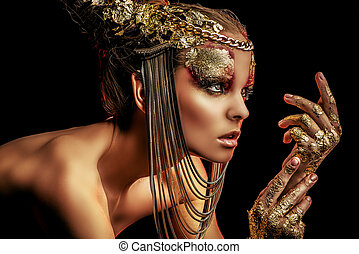 imminent - Art project: beautiful woman with golden make-up...
