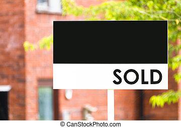 immobilienmakler, haus, verkauften zeichen