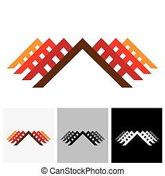 immobilier, bureau, &, ), maison, industrie, vecteur, (, maison, logo, icône