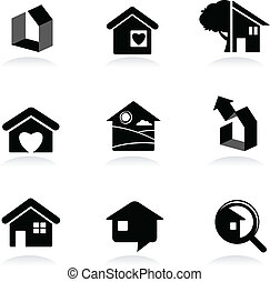 immobilier, icônes, et, logos