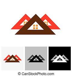 immobilier, ), maison, industrie, sign), vecteur, (, maison, logo, icône
