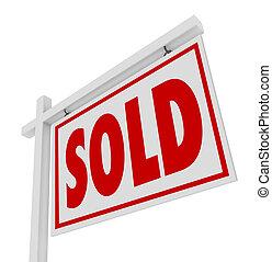 immobiliers, affaire, vendu, signe vente, fermé, maison
