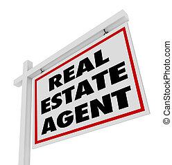 immobiliers, agence, agent, signe, publicité