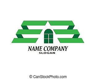 immobiliers, compagnie, construction, gabarit, logo